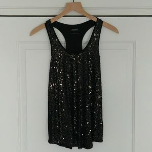 Express Black Sequin Racerback Tank Top